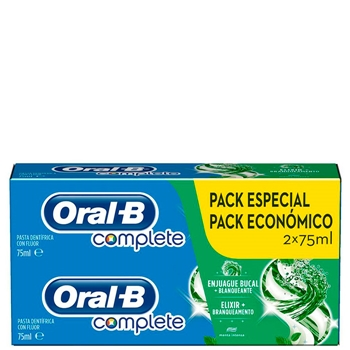 Oral-B Complete Enjuague Bucal + Blanqueante Dentífrico Duplo 75 ml +75 ml