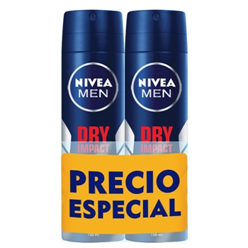 NIVEA MEN Dry Impact Desodorante Spray Duplo 200 ml + 200 ml