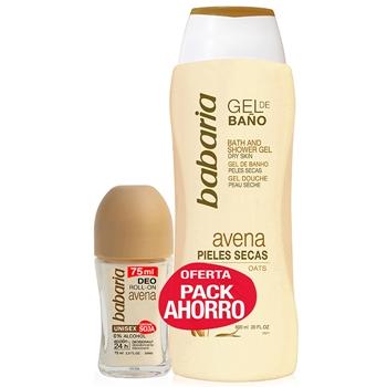 Babaria Gel de Baño Avena 600 ml Pieles Secas + Roll-On Avena 75 ml