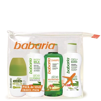 Babaria Aloe Vera Estuche de Viaje Body Milk 100 ml + Champú 100 ml + Gel Baño 100 ml + Roll-On 50 ml