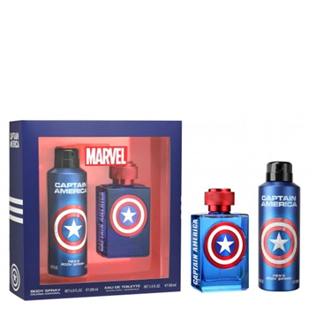 MARVEL Capitan America EDT Estuche 100 ml Vaporizador + Colonia Corporal Spray 200 ml