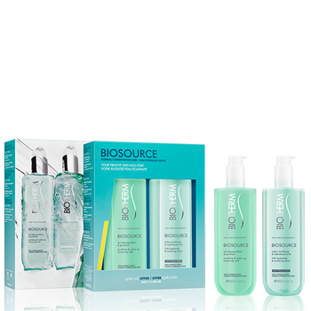 BIOTHERM Biosource Duo Limpiador Piel Normal Mixta Lotion Tonifiante 400 ml + Lait Démaquillant & Purifiant 400 ml