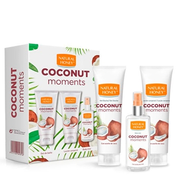 Natural Honey Coconut Moments Estuche 200 ml Gel de Baño + Loción Corporal 200 ml + Body Mist 100 ml