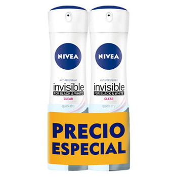 NIVEA Invisible Black & White Clear Desodorante Spray 200 ml + 200 ml