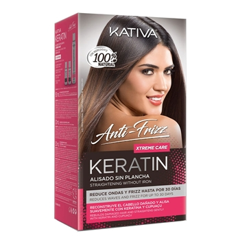 KATIVA Keratin Alisado sin Plancha Xtreme Care Máscara de Alisado 150 ml + Shampoo 30 ml + Conditioner 30 ml