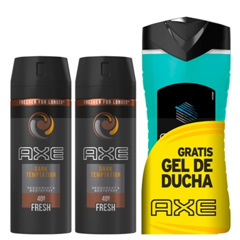AXE DARK TEMPTATION Desodorante Spray 2 x 150 ml + Gel de Ducha  Ice Chill 250 ml