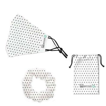 IDC INSTITUTE Mascarilla Facial Protectora Blanca Lunares 1 Unidad + Coletero