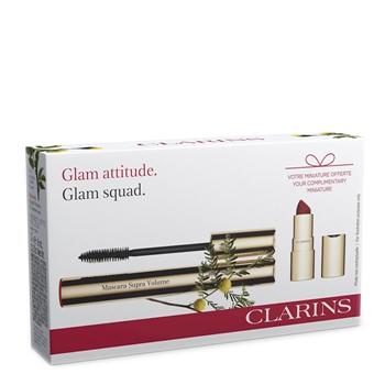 Clarins Supra Volume Mascara Estuche Nº 01 Negro Intenso + Mini Labial Rouge Velvet