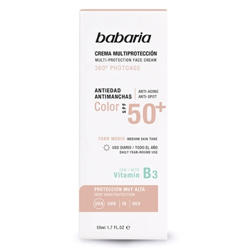 Crema Facial Multiprotección Color Medio SPF50+ de Babaria