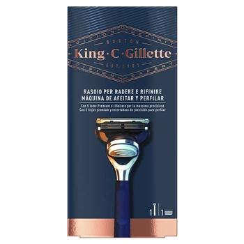 Gillette KING C. GILLETTE Máquina de Afeitar y Perfilar 1 Unidad + 1 Recambio