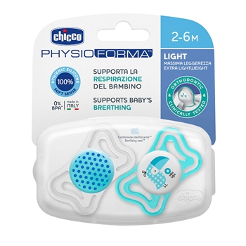 Chupete Physio Light Silicona Azul 2-6 Meses de CHICCO