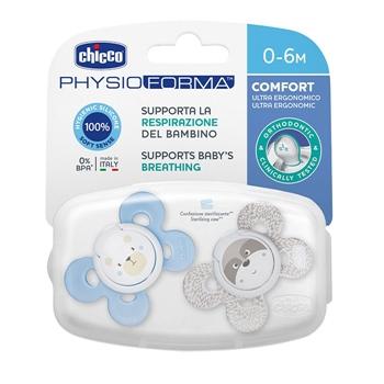 Chicco Chupete Physio Comfort Silicona Azul 0-6 Meses 2 Unidades (Colores Aleatorios)