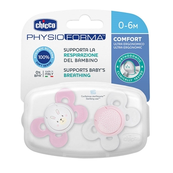 Chicco Chupete Physio Comfort Silicona Rosa 0-6 Meses 2 Unidades (Colores Aleatorios)