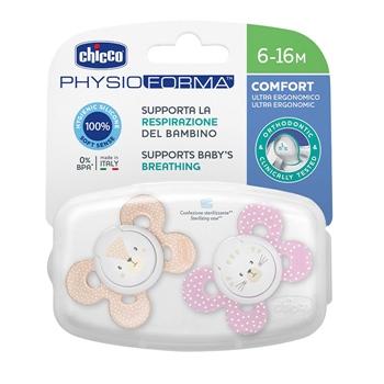 Chicco Chupete Physio Comfort Silicona Rosa 6-16 Meses 2 Unidades (Colores Aleatorios)