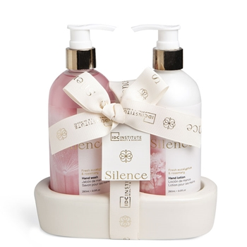 IDC INSTITUTE Silence Estuche Hand Wash 290 ml + Hand and Body Lotion 290 ml + Ceramic Tray Base